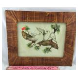 Framed Antique Fabric Dove Pattern