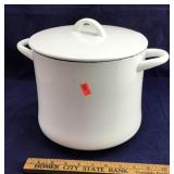 Large Heavy White Enameled Pot