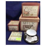 Stacking Box Set and Lefton Cup and Saucer
