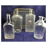 4 Old Bottles and Wire Basket
