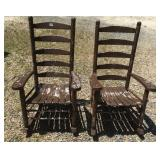 Pair high quality oak porch rockers