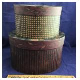 Pair of Heavy Cardboard Oval Stacking Boxes