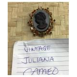 Vintage Jeweled Juliana Cameo Pin Pendant