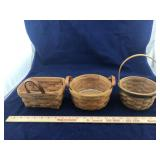 3 Small Longaberger Baskets