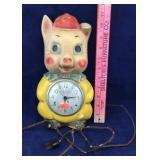 Vintage Chalkware Porky Pig Electric Clock