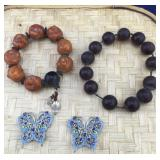 Large Bead Bracelets and Butterfly Pendants