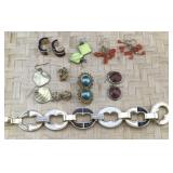 Chunky Bracelet and 8 Pairs of Pierced Earrings