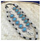 Blue Stone Bracelets and Black and White Necklace