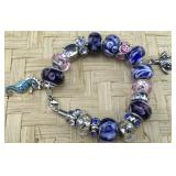 Pink and Blue Sea Life Pandora Type Bracelet