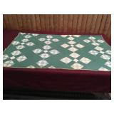 Vintage Greens and White 9 Patch Quilt