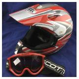 Red and Black GMax Medium Helmet and Goggles