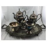 Silver Plated Tray And Tea Set