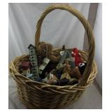 Basket Of Bird Houses And Stuffed Animals