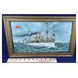 Framed Antique Lithograph of American Ship