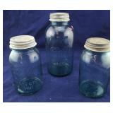 3 Blue Ball Mason Jars With Zinc Lids