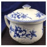Old Blue and White Staffordshire Chamber Pot