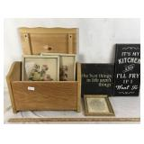 Wooden Box with Wall Art