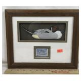 Framed Duck Carving with Ducks Unlimited Stamp