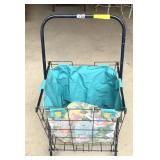 Folding shopping basket cart