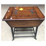 Pine and iron storage table
