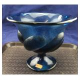 Fenton Medium Blue Pedestal Bowl