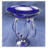 Cobalt and Clear Art Glass Open Pedestal Compote