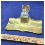 Antique Brass Inkwell and Glass Ink Bottle