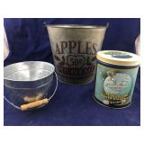 Galvanized Decorative Buckets Plus Candy Tin