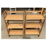 Pair of folding wooden shelves