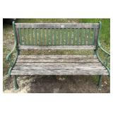 Vintage wooden cast iron park bench