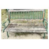 Vintage wooden and cast-iron park bench