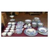 65 piece Currier and Ives dishes,  various