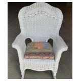 Wicker rocker with cushion