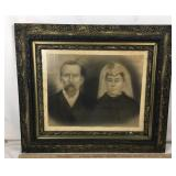 Antique Framed Portrait of Man & Wife