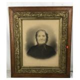 Antique Framed Portrait of Old Woman