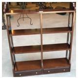 Hanging Mahogany Knickknack Shelf w/ Two Drawers