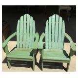 Two Adirondack style painted wooden chairs