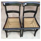 Two stencil back chairs with cane seat