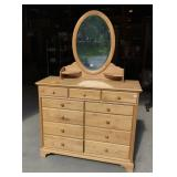 Solid wood 11 drawer Dresser with beveled mirror