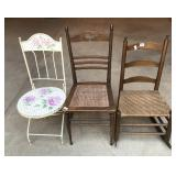 three assorted chairs- a ladder back woven seat