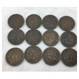Collection of 12 Indian Head Cents