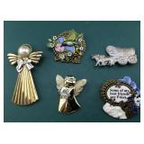 Group of 5 Pins Including Pair of Angels