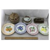 Pottery Bean Pot, Butter Dish, Italian Plates