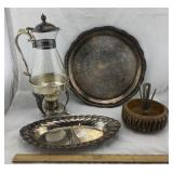 Silver Plate Coffee Carafe & Trays