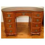 Kidney Shaped Leather Top Writing Desk