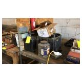 Sony Stereo, Hydraulic Jack, Plastic Crate With