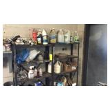 Two Metal Shelves With Miscellaneous Cleaners,