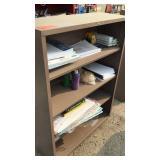 4 Shelf Cabinet Tan W/ Misc