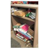 2 Shelf Cabinet Tan W/misc