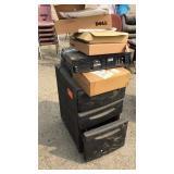 Black Plastic File Cabinet W/ Wheels & Misc